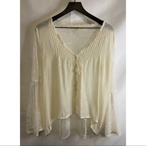 Lovestitch Cream Lace Bell Sleeve Boho Top Size S